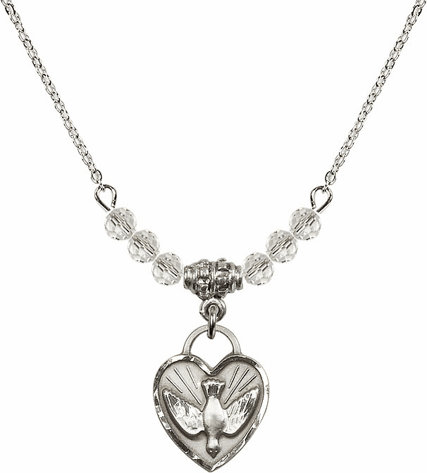 Sterling Silver Confirmation Heart Sterling April 4mm Swarovski Crystal Necklace by Bliss Mfg
