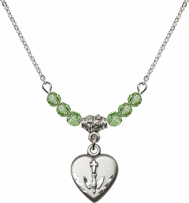 Sterling Silver Confirmation Heart Sterling August Peridot 4mm Swarovski Crystal Necklace by Bliss Mfg