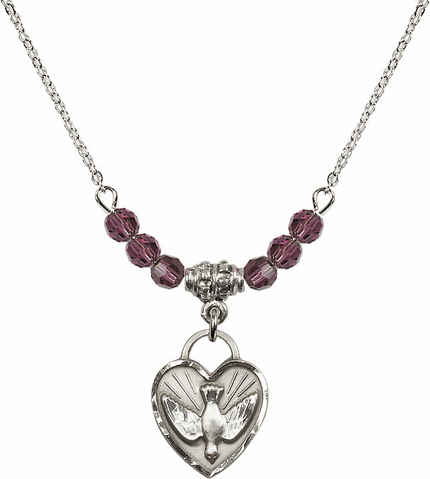Sterling Silver Confirmation Heart Sterling February Amethyst 4mm Swarovski Crystal Necklace by Bliss Mfg