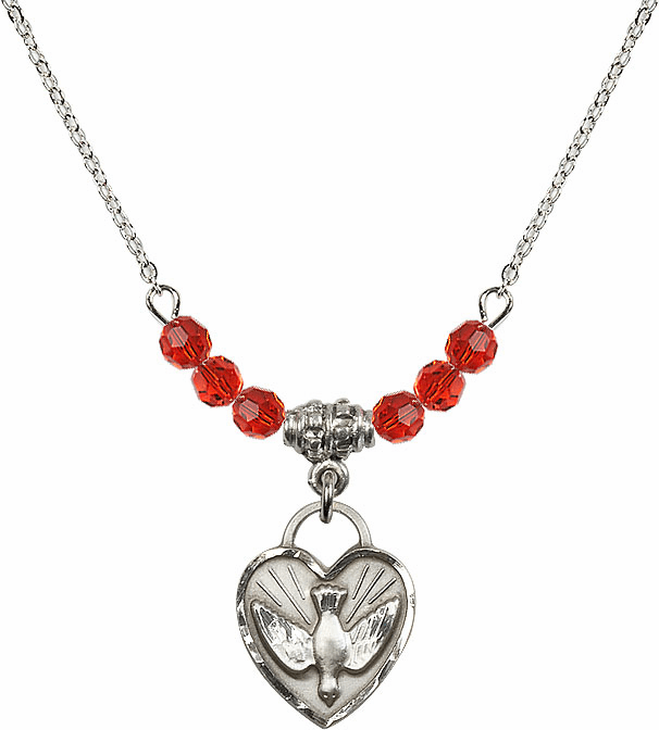 Sterling Silver Confirmation Heart Sterling July Ruby 4mm Swarovski Crystal Necklace by Bliss Mfg