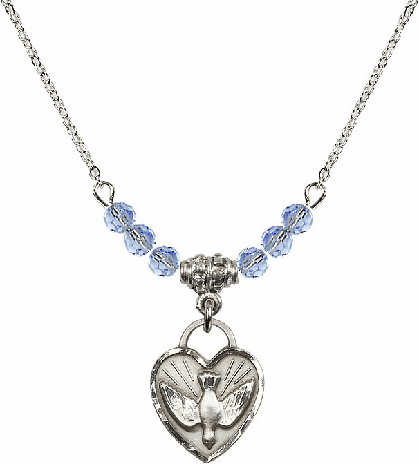 Sterling Silver Confirmation Heart Sterling Lt Sapphire 4mm Swarovski Crystal Necklace by Bliss Mfg