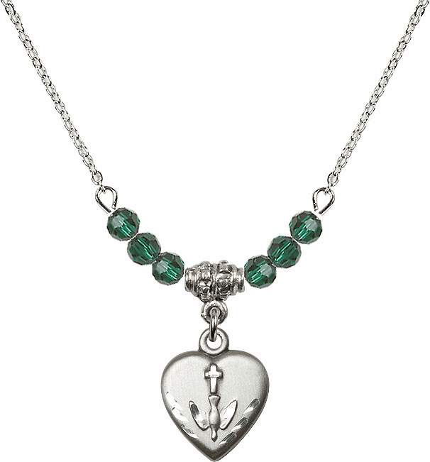 Sterling Silver Confirmation Heart Sterling May Emerald 4mm Swarovski Crystal Necklace by Bliss Mfg