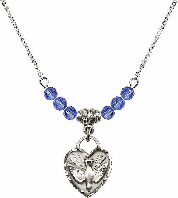 Sterling Silver Confirmation Heart Sterling September Sapphire 4mm Swarovski Crystal Necklace by Bliss Mfg