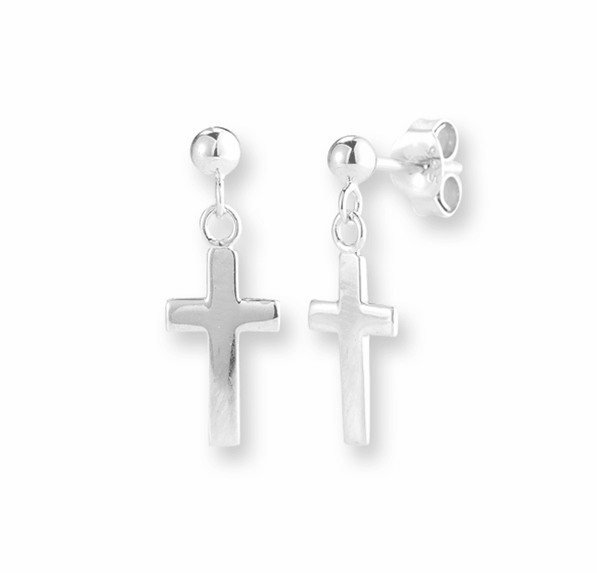 Sterling Silver Cross Earrings by HMH Religious