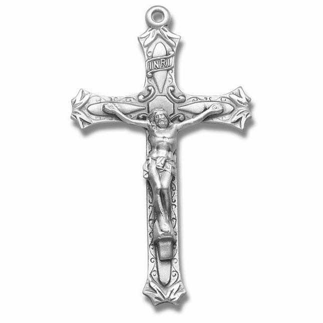 Sterling Silver Crucifix Rosary Part with Leaves by HMH Religious