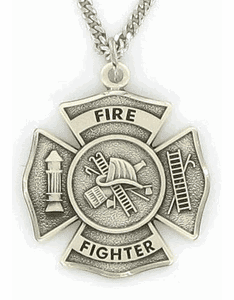 Sterling Silver Fireman Shield Medal with St. Florian on Back