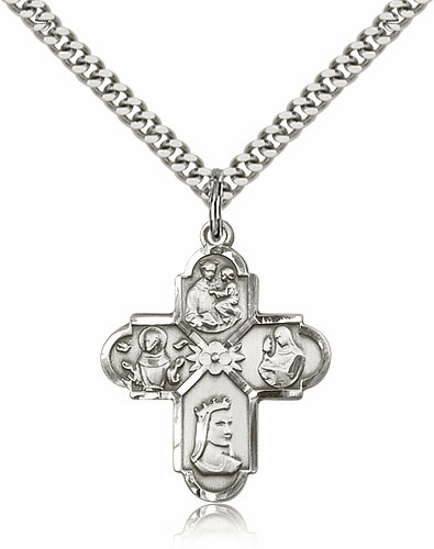 Bliss Mfg Sterling Silver Franciscan 4-Way Pendant Necklace