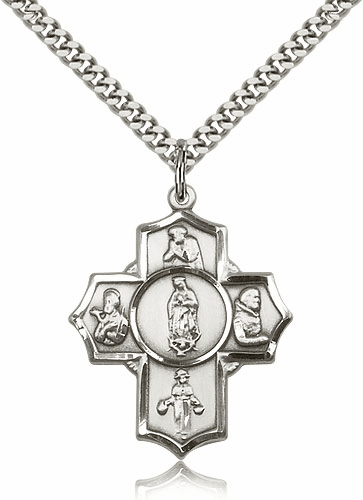Sterling Silver Guadalupe 5-Way Cross Medal by Bliss