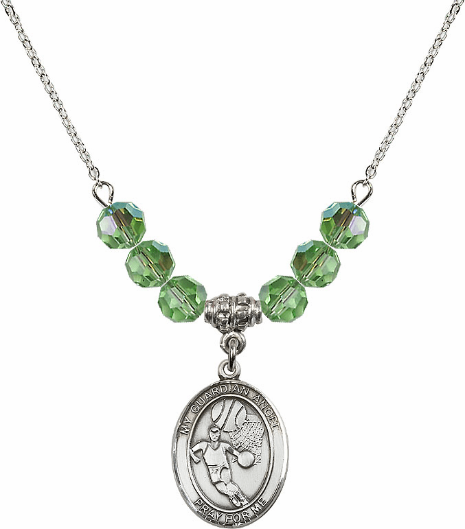Guardian Angel Basketball Sterling August Peridot Swarovski Crystal Beaded Necklace by Bliss Mfg