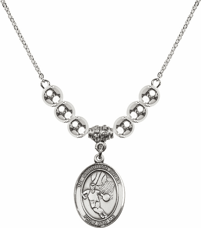 Guardian Angel Basketball Sterling Charm w/Silver Beads Necklace by Bliss Mfg