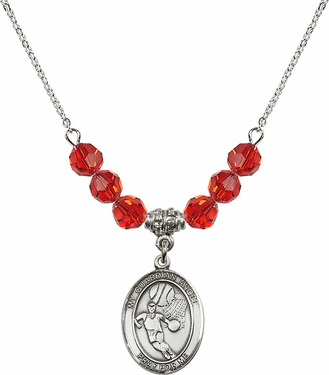 Guardian Angel Basketball Sterling July Ruby Swarovski Crystal Beaded Necklace by Bliss Mfg