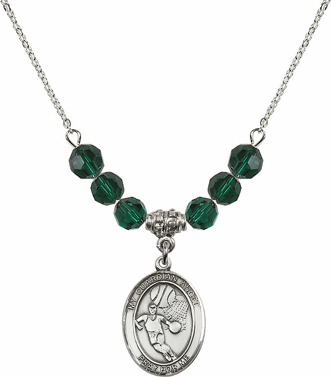 Guardian Angel Basketball Sterling May Emerald Swarovski Crystal Beaded Necklace by Bliss Mfg