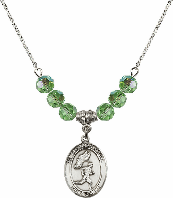 Guardian Angel Boy's Track and Field Sterling August Peridot Swarovski Crystal Beaded Necklace by Bliss Mfg