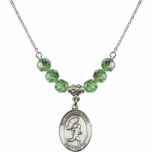 Guardian Angel Boy's Track/Field August Peridot Crystal Beaded Necklace by Bliss Mfg