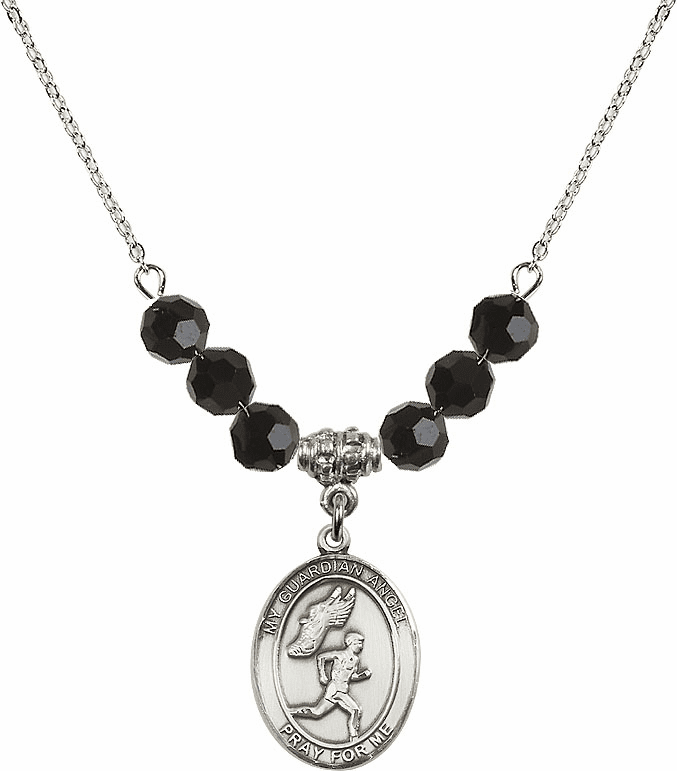 Guardian Angel Boy's Track and Field Sterling Black Jet Swarovski Crystal Beaded Necklace by Bliss Mfg