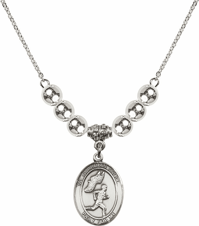 Sterling Silver Guardian Angel Boy's Track and Field Sterling Charm w/Silver Beads Necklace by Bliss Mfg