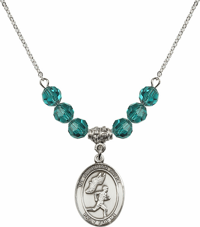 Guardian Angel Boy's Track and Field Sterling December Zircon Swarovski Crystal Beaded Necklace by Bliss Mfg