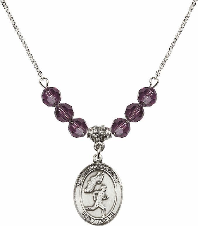 Sterling Silver Guardian Angel Boy's Track and Field Sterling February Amethyst Swarovski Crystal Beaded Necklace by Bliss Mfg