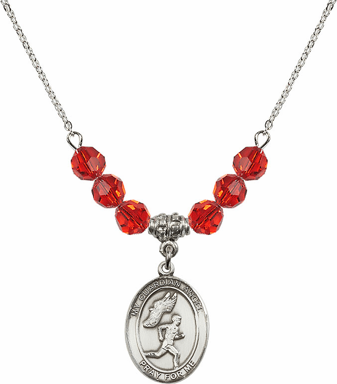 Guardian Angel Boy's Track and Field Sterling July Ruby Swarovski Crystal Beaded Necklace by Bliss Mfg