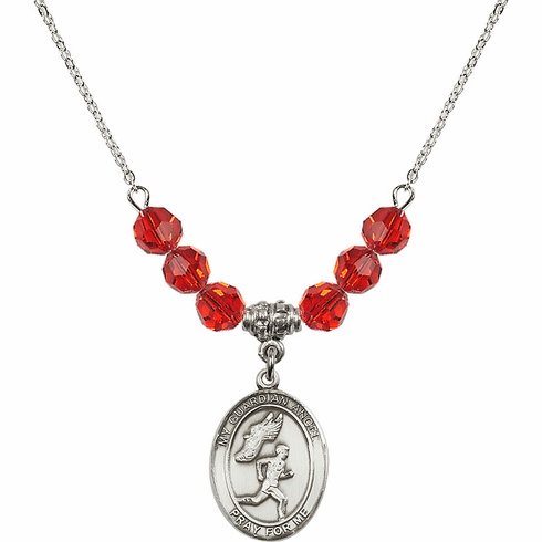 Guardian Angel Boy's Track/Field July Ruby Swarovski Crystal Beaded Necklace by Bliss Mfg