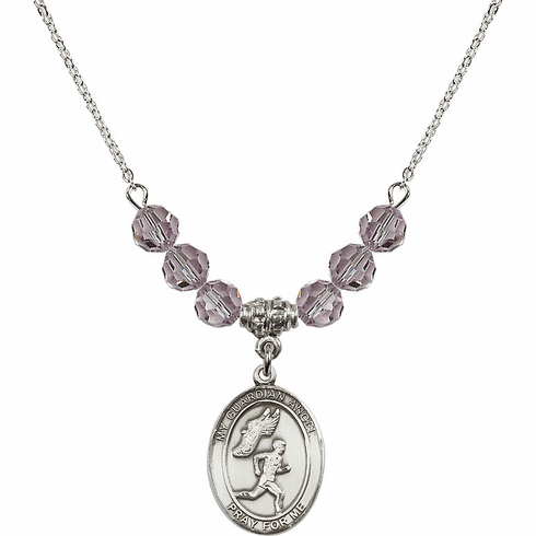 Guardian Angel Boy's Track and Field Sterling June Lt Amethyst Swarovski Crystal Beaded Necklace by Bliss Mfg