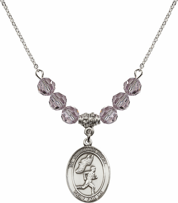 Sterling Silver Guardian Angel Boy's Track and Field Sterling June Lt Amethyst Swarovski Crystal Beaded Necklace by Bliss Mfg