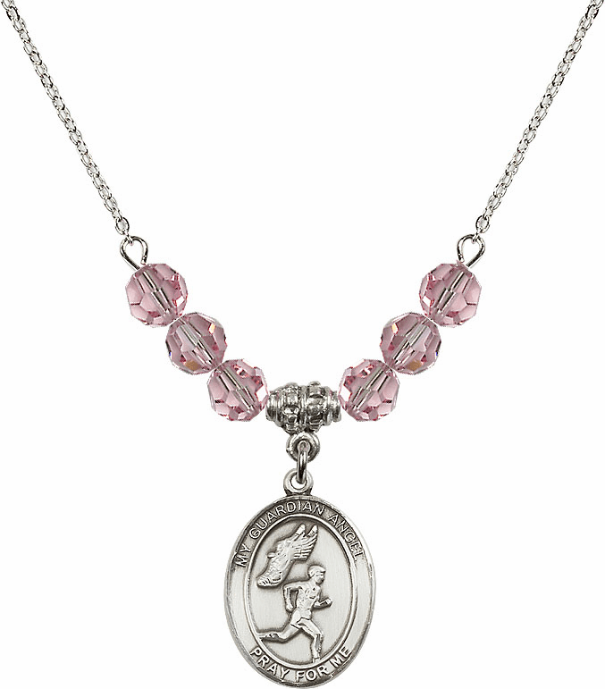 Guardian Angel Boy's Track and Field Sterling Lt Rose Swarovski Crystal Beaded Necklace by Bliss Mfg