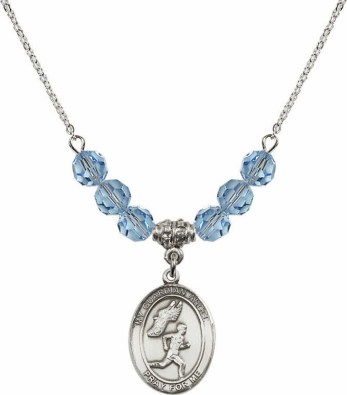 Guardian Angel Boy's Track and Field Sterling March Aqua Swarovski Crystal Beaded Necklace by Bliss Mfg