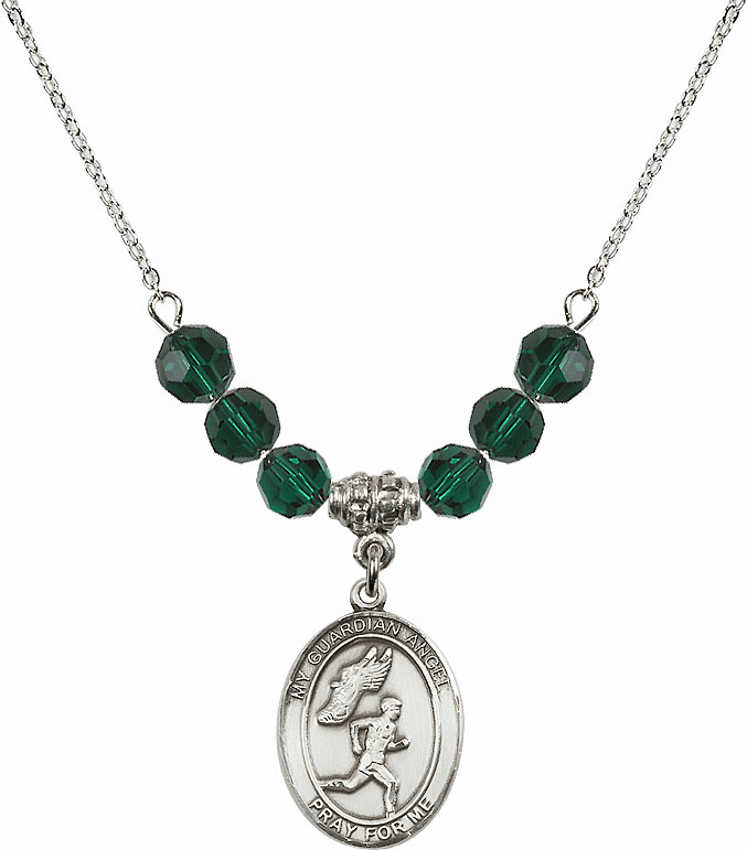 Sterling Silver Guardian Angel Boy's Track and Field Sterling May Emerald Swarovski Crystal Beaded Necklace by Bliss Mfg