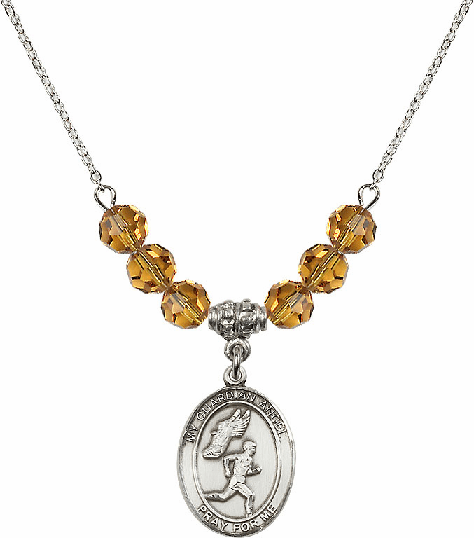 Guardian Angel Boy's Track and Field Sterling November Topaz Swarovski Crystal Beaded Necklace by Bliss Mfg