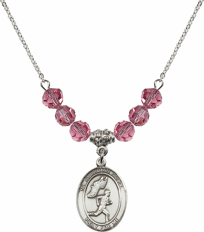 Sterling Silver Guardian Angel Boy's Track and Field Sterling October Rose Swarovski Crystal Beaded Necklace by Bliss Mfg