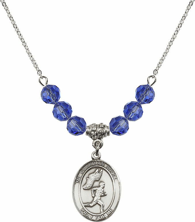 Sterling Silver Guardian Angel Boy's Track and Field Sterling September Sapphire Swarovski Crystal Beaded Necklace by Bliss Mfg