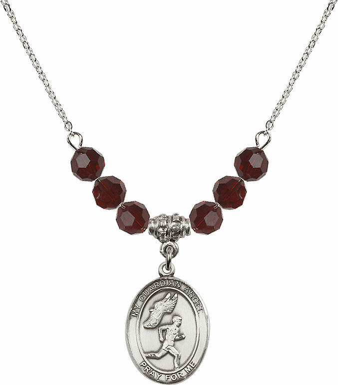 Guardian Angel Boy's Track and Field Swarovski Crystal Beaded Necklace by Bliss Mfg