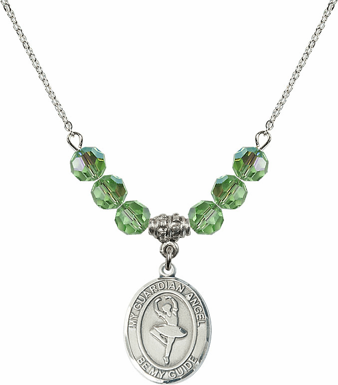 Guardian Angel Dance August Peridot Swarovski Crystal Beaded Necklace by Bliss Mfg