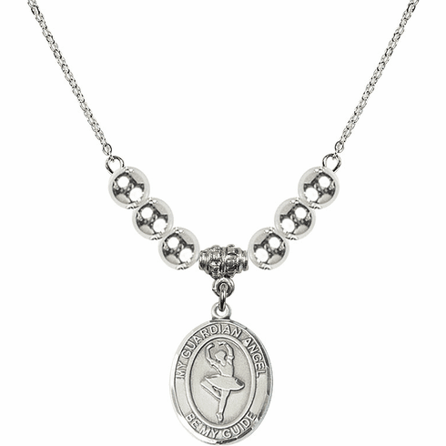 Guardian Angel Dance Sterling Charm w/Silver Beads Necklace by Bliss Mfg