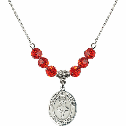 Guardian Angel Dance July Ruby Swarovski Crystal Beaded Necklace by Bliss Mfg