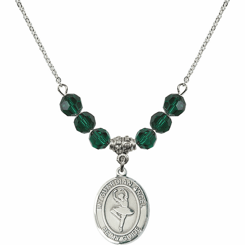 Guardian Angel Dance May Emerald Swarovski Crystal Beaded Necklace by Bliss Mfg