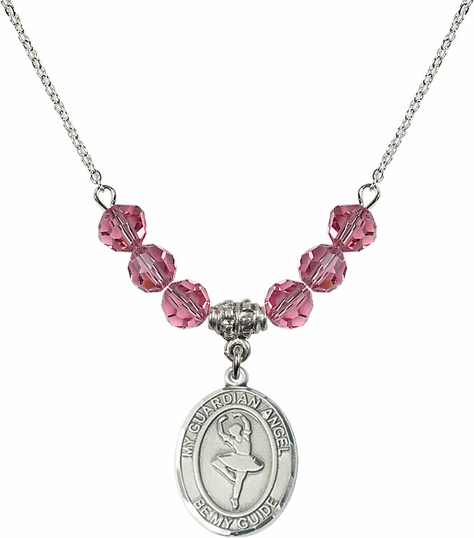 Guardian Angel Dance October Rose Swarovski Crystal Beaded Necklace by Bliss Mfg