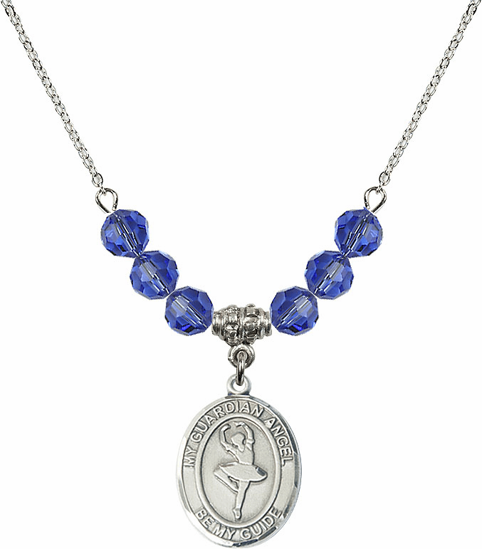 Guardian Angel Dance September Sapphire Crystal Beaded Necklace by Bliss Mfg