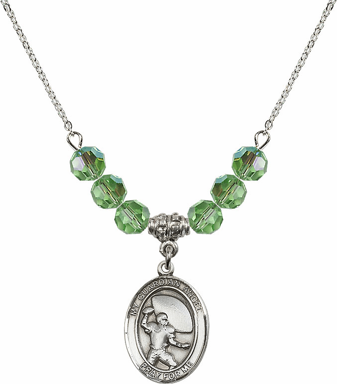 Guardian Angel Football Sterling August Peridot Swarovski Crystal Beaded Necklace by Bliss Mfg