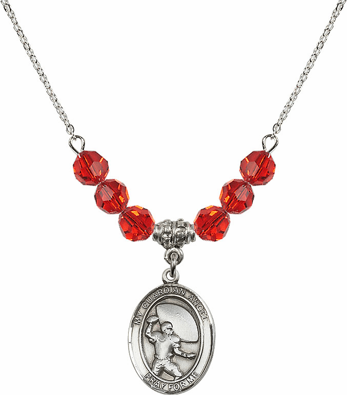 Guardian Angel Football Sterling July Ruby Swarovski Crystal Beaded Necklace by Bliss Mfg