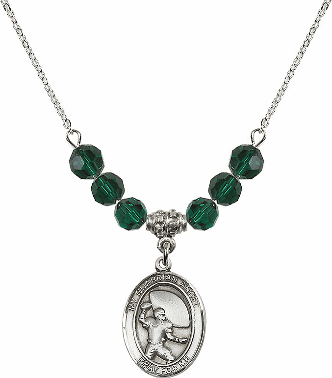 Guardian Angel Football Sterling May Emerald Swarovski Crystal Beaded Necklace by Bliss Mfg