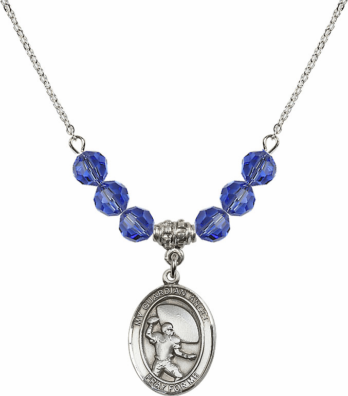 Guardian Angel Football Sterling September Sapphire Swarovski Crystal Beaded Necklace by Bliss Mfg