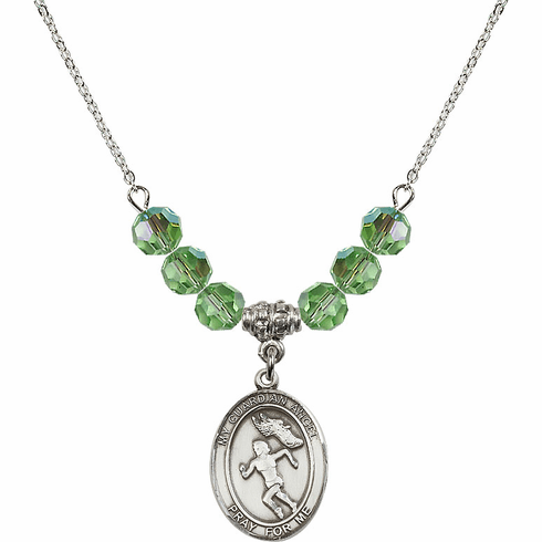 Guardian Angel Girl's Track and Field Sterling August Peridot Swarovski Crystal Beaded Necklace by Bliss Mfg