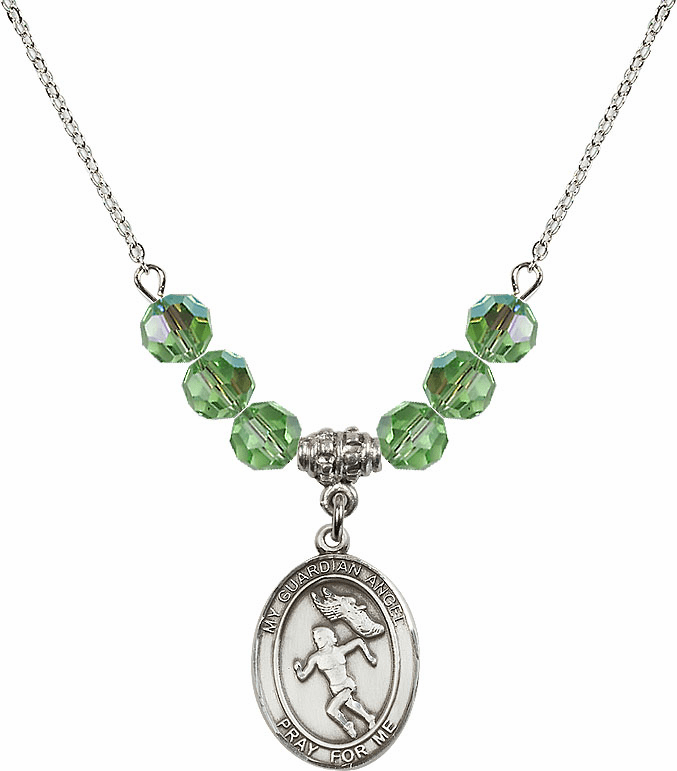 Sterling Silver Guardian Angel Girl's Track and Field Sterling August Peridot Swarovski Crystal Beaded Necklace by Bliss Mfg