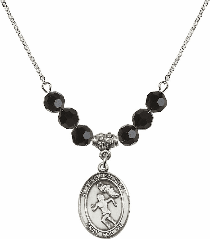 Sterling Silver Guardian Angel Girl's Track and Field Sterling Black Jet Swarovski Crystal Beaded Necklace by Bliss Mfg