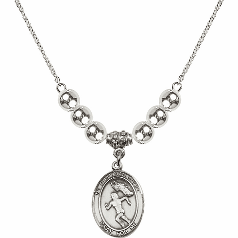 Guardian Angel Girl's Track and Field Sterling Charm w/Silver Beads Necklace by Bliss Mfg