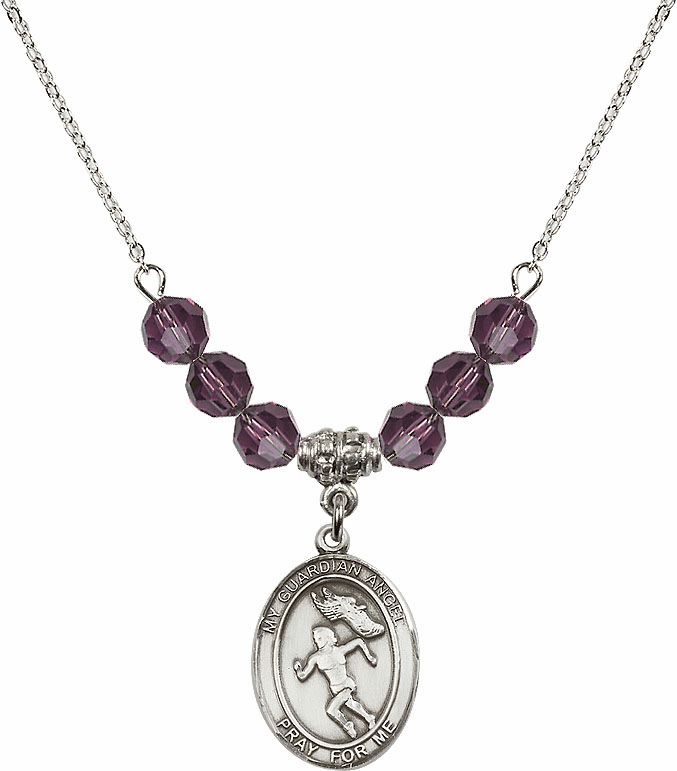 Sterling Silver Guardian Angel Girl's Track and Field Sterling February Amethyst Swarovski Crystal Beaded Necklace by Bliss Mfg