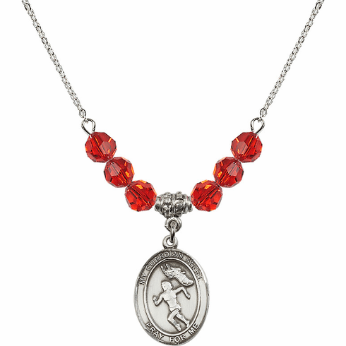Guardian Angel Girl's Track and Field Sterling July Ruby Swarovski Crystal Beaded Necklace by Bliss Mfg
