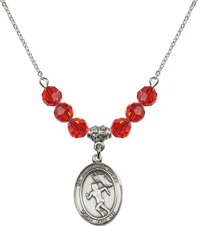 Sterling Silver Guardian Angel Girl's Track and Field Sterling July Ruby Swarovski Crystal Beaded Necklace by Bliss Mfg